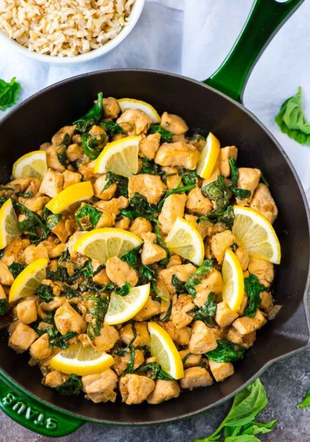 Easy Healthy Chicken Recipes - Lemon Basil Chicken - Lunch and Dinner Ideas, Party Foods and Casseroles, Idea for the Grill and Salads- Chicken Breast, Baked, Roastedf and Grilled Chicken #recipes #healthy #chicken