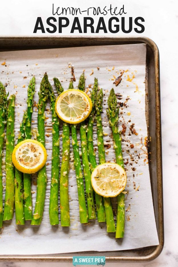 Asparagus Recipes - Lemon Roasted Asparagus - DIY Asparagus Recipe Ideas for Homemade Soups, Sides and Salads - Easy Tutorials for Roasted, Sauteed, Steamed, Baked, Grilled and Pureed Asparagus - Party Foods, Quick Dinners, Dishes With Cheese, Vegetarian and Vegan Options - Healthy Recipes With Step by Step Instructions http://diyjoy.com/asparagus-recipes