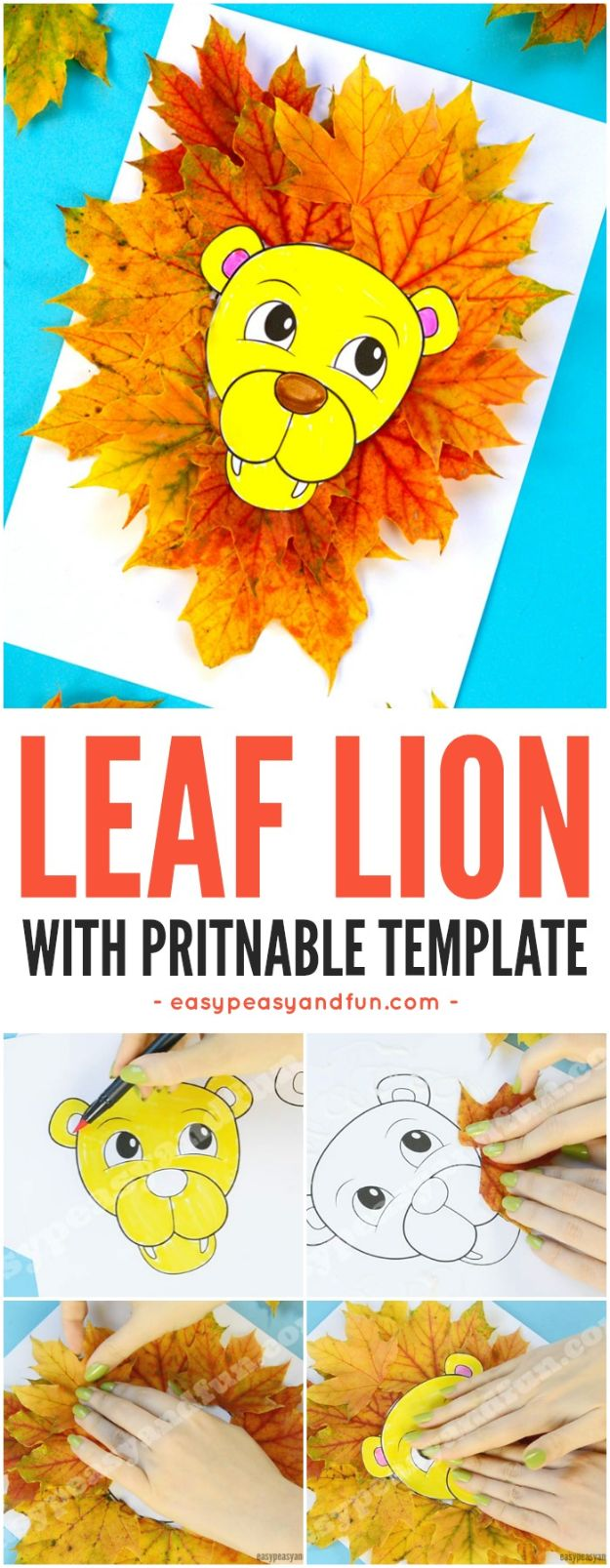 Fun Fall Crafts for Kids - Lion Leaf Craft - Cool Crafts Ideas for Kids to Make With Paper, Glue, Leaves, Corn Husk, Pumpkin and Glitter - Halloween and Thanksgiving - Children Love Making Art, Paintings, Cards and Fall Decor - Placemats, Place Cards, Wall Art , Party Food and Decorations for Toddlers, Boys and Girls http://diyjoy.com/fun-fall-crafts-kids