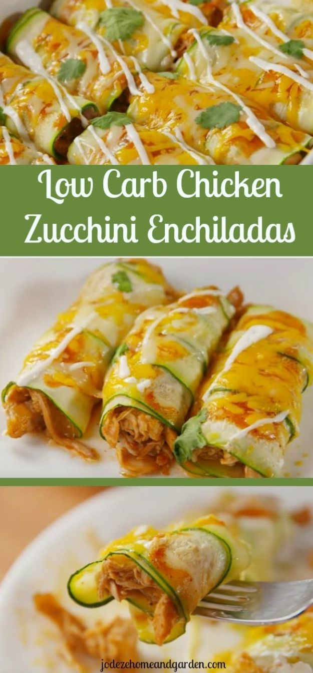 Enchiladas - Low Carb Chicken Zucchini Enchiladas - Best Easy Enchilada Recipes and Enchilada Casserole With Chicken, Beef, Cheese, Shrimp, Turkey and Vegetarian - Healthy Salsa for Green Verdes, Sour Cream Enchiladas Mexicanas, White Sauce, Crockpot Ideas - Dinner, Lunch and Party Food Ideas to Feed A Group or Crowd http://diyjoy.com/enchilada-recipes