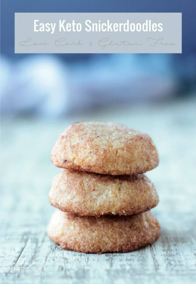 Keto Dessert Recipes - Low Carb Snickerdoodles - Easy Ketogenic Diet Dessert Recipes and Recipe Ideas - Shakes, Cakes In A Mug, Low Carb Brownies, Gluten Free Cookies, Best Keto Chocolate Sweets, Fat Bombs, Cheesecake, No Bake and Dairy Free Ideas http://diyjoy.com/keto-dessert-recipes