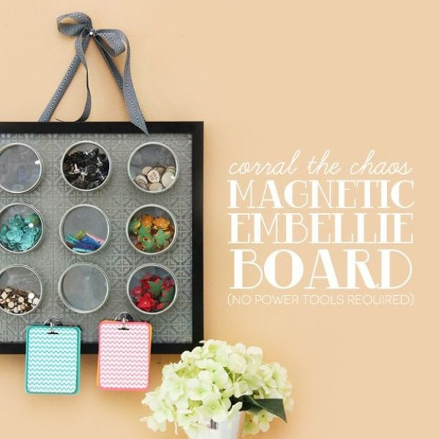 Organizing Ideas for Your Life - Magnetic Embellishment Board - Easy Crafts and Cool Ideas for Getting Organized - Best Ways to Get Organized - Things to Make for Being More Efficient and Productive - DIY Storage, Shelving, Calendars, Planning #organizing