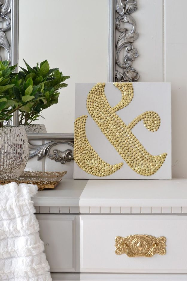 Dollar Tree Crafts - Make DIY Ampersand Art Using Thumbtacks - DIY Ideas and Crafts Projects From Dollar Tree Stores - Easy Organizing Project Tutorials and Home Decorations- Cheap Crafts to Make and Sell - Organization, Summer Parties, Christmas and Wedding Decor on A Budget - Fun Crafts for Kids and Teens from Dollar Store Items #dollarstore #dollartree #dollarstorecrafts #cheapcrafts #crafts #diy #diyideas http://diyjoy.com/dollar-tree-crafts