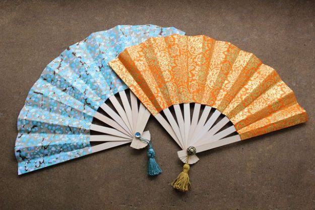Paper Crafts DIY - Make Japanese Fans - Papercraft Tutorials and Easy Projects for Make for Decoration and Gift IDeas - Origami, Paper Flowers, Heart Decoration, Scrapbook Notions, Wall Art, Christmas Cards, Step by Step Tutorials for Crafts Made From Papers #crafts