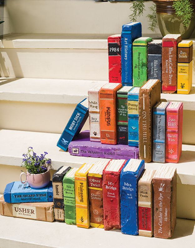 DIY Ideas With Bricks - Make Your Own Brick Library - Home Decor and Creative Do It Yourself Projects to Make With Bricks - Ideas for Patio, Walkway, Fireplace, Firepit, Mantle, Grill and Art - Inexpensive Decoration Tutorials With Step By Step Instruction for Brick DIY http://diyjoy.com/diy-ideas-bricks