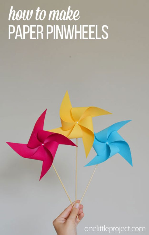 Paper Crafts DIY - Make a Pinwheel - Papercraft Tutorials and Easy Projects for Make for Decoration and Gift IDeas - Origami, Paper Flowers, Heart Decoration, Scrapbook Notions, Wall Art, Christmas Cards, Step by Step Tutorials for Crafts Made From Papers http://diyjoy.com/paper-crafts-diy