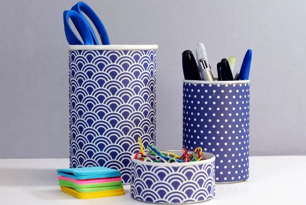 DIY Office Furniture - Make a Pretty Office Supply Organizer - Do It Yourself Home Office Furniture Ideas - Desk Projects, Thrift Store Makeovers, Chairs, Office File Cabinets and Organization - Shelving, Bulletin Boards, Wall Art for Offices and Creative Work Spaces in Your House - Tables, Armchairs, Desk Accessories and Easy Desks To Make On A Budget #diyoffice #diyfurniture #diy #diyhomedecor #diyideas
