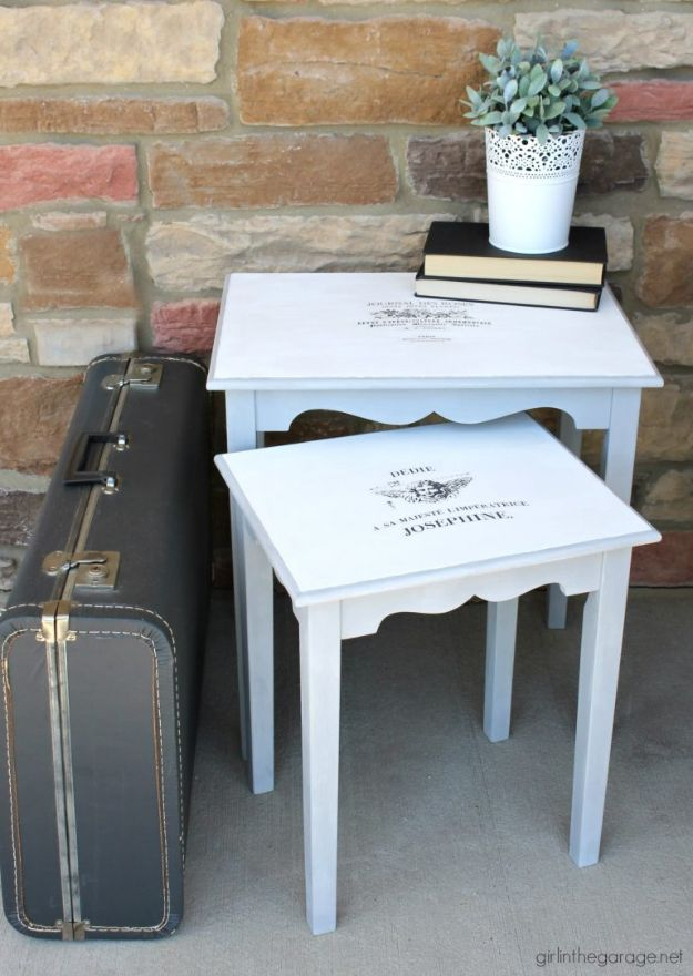 Thrift Store DIY Makeovers - Makeover For Thrifted Nesting Tables - Decor and Furniture With Upcycling Projects and Tutorials - Room Decor Ideas on A Budget - Crafts and Decor to Make and Sell - Before and After Photos - Farmhouse, Outdoor, Bedroom, Kitchen, Living Room and Dining Room Furniture http://diyjoy.com/thrift-store-makeovers