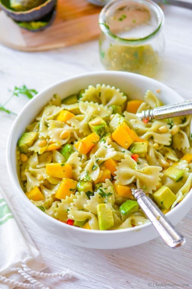 Avocado Recipes - Mango Avocado Pasta Salad with Cilantro Lime Dressing - Quick Avocado Toast, Eggs, Keto Guacamole, Dips, Salads, Healthy Lunches, Breakfast, Dessert and Dinners - Party Foods, Soups, Low Carb Salad Dressings and Smoothie http://diyjoy.com/avocado-recipes