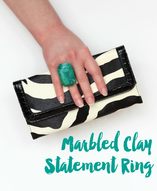 Cheap DIY Gift Ideas - Marbled Polymer Clay Statement Ring - List of Handmade Gifts on A Budget and Inexpensive Christmas Presents - Do It Yourself Gift Idea for Family and Friends, Mom and Dad, For Guys and Women, Boyfriend, Girlfriend, BFF, Kids and Teens - Dollar Store and Dollar Tree Crafts, Home Decor, Room Accessories and Fun Things to Make At Home http://diyjoy.com/cheap-diy-gift-ideas