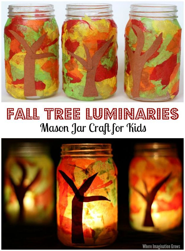 Fun Fall Crafts for Kids - Mason Jar Fall Luminaries Craft - Cool Crafts Ideas for Kids to Make With Paper, Glue, Leaves, Corn Husk, Pumpkin and Glitter - Halloween and Thanksgiving - Children Love Making Art, Paintings, Cards and Fall Decor - Placemats, Place Cards, Wall Art , Party Food and Decorations for Toddlers, Boys and Girls http://diyjoy.com/fun-fall-crafts-kids