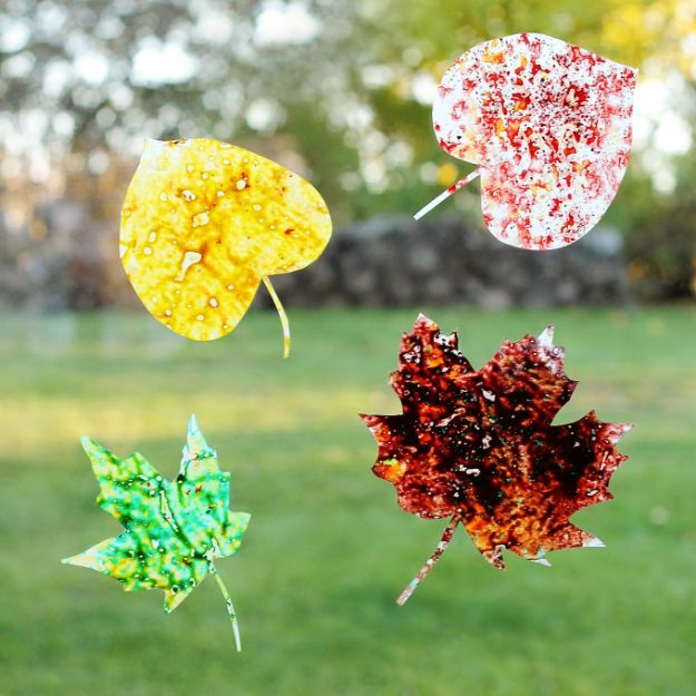 Fun Fall Crafts for Kids - Melted Crayon Leaf Suncatchers - Cool Crafts Ideas for Kids to Make With Paper, Glue, Leaves, Corn Husk, Pumpkin and Glitter - Halloween and Thanksgiving - Children Love Making Art, Paintings, Cards and Fall Decor - Placemats, Place Cards, Wall Art , Party Food and Decorations for Toddlers, Boys and Girls http://diyjoy.com/fun-fall-crafts-kids