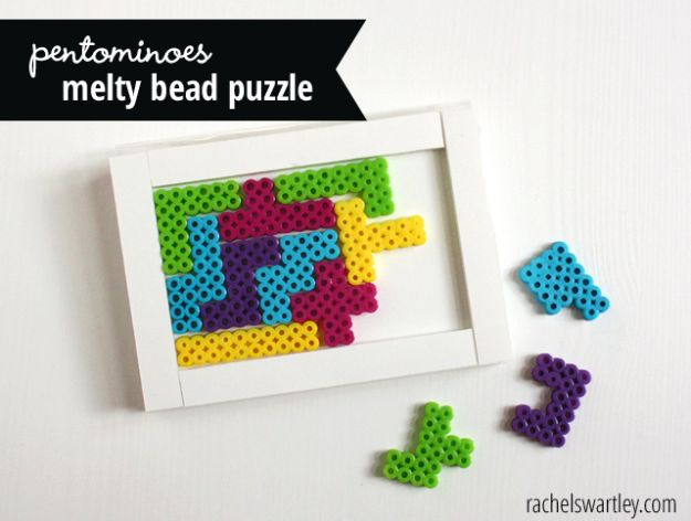 DIY perler bead crafts -Melty Bead Puzzle - Easy Crafts With Perler Beads - Cute Accessories and Homemade Decor That Make Creative DIY Gifts - Plastic Melted Beads Make Cool Art for Walls, Jewelry and Things To Make When You are Bored #diy #crafts