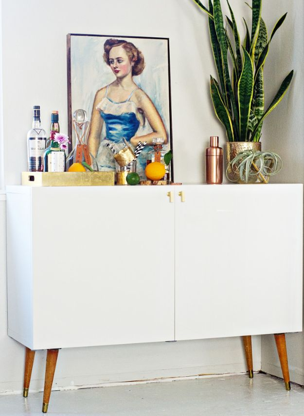 IKEA Hacks for Your Kitchen - Mid Century Bar Cabinet - DIY Furniture and Kitchen Accessories Made from IKEA - Kitchen Islands, Cabinets, Table, Pantry Organization, Storage, Shelves and Counter Solutions - Bar, Buffet and Entertaining Ideas - Easy Projects With Step by Step Tutorials and Instructions to Hack IKEA items #ikea #ikeahacks #diyhomedecor #diyideas #diykitchen