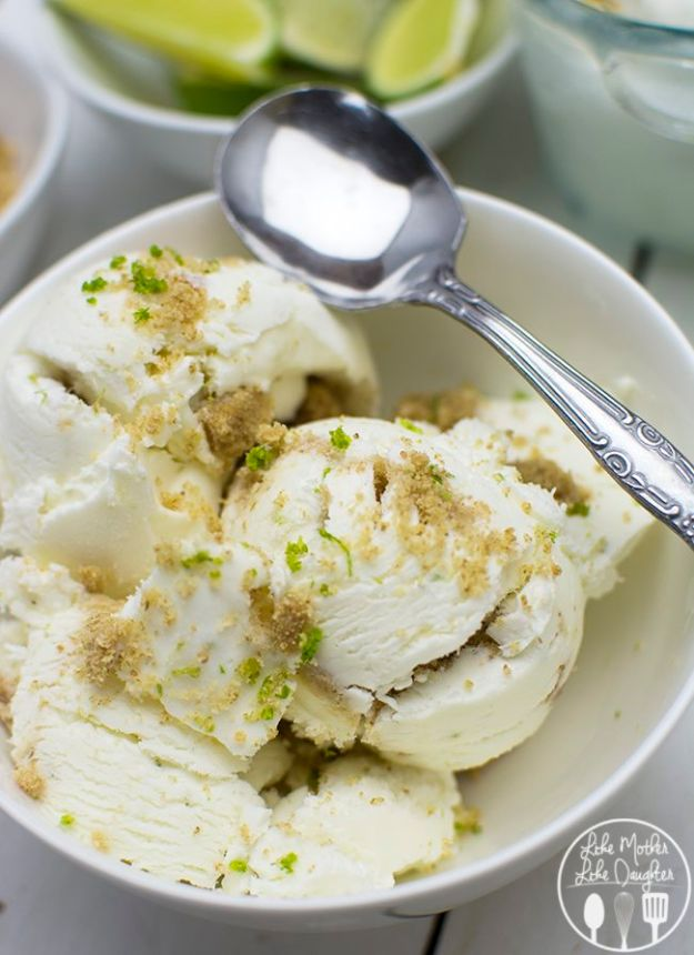 Homemade Ice Cream Recipes - No Churn Key Lime Pie Ice Cream - How To Make Homemade Ice Cream At Home - Recipe Ideas for Making Vanilla, Chocolate, Strawberry, Caramel Ice Creams - Step by Step Tutorials for Easy Mixes and Dairy Free Options - Cuisinart and Ice Cream Machine, No Churn, Mix in A Bag and Mason Jar - Healthy and Keto Diet Friendly #recipes #icecream