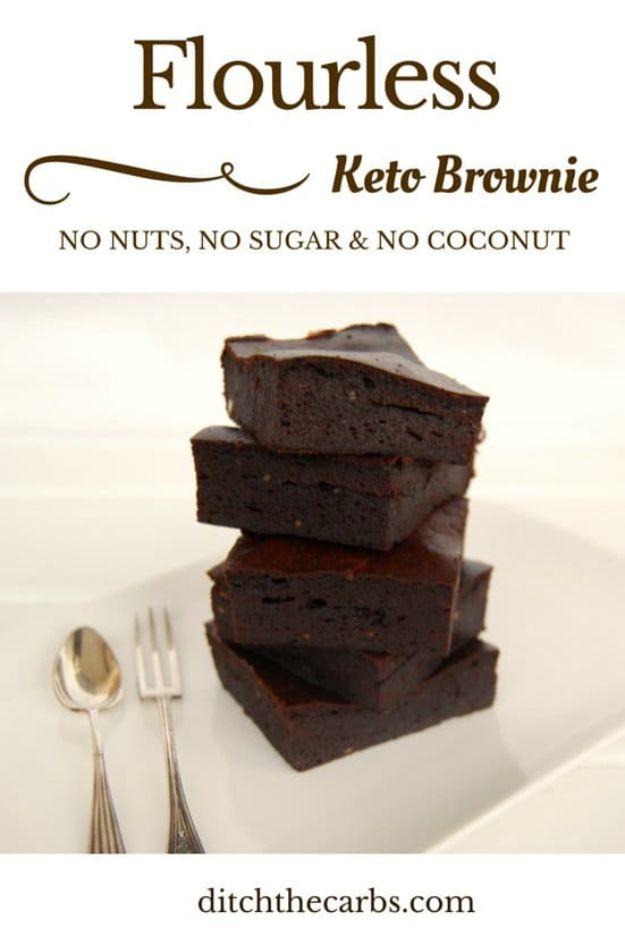 Keto Dessert Recipes - Nut Free Keto Brownie - Easy Ketogenic Diet Dessert Recipes and Recipe Ideas - Shakes, Cakes In A Mug, Low Carb Brownies, Gluten Free Cookies #keto #ketorecipes #desserts