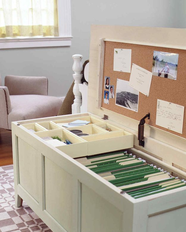 DIY Office Furniture - Office In A Chest - Do It Yourself Home Office Furniture Ideas - Desk Projects, Thrift Store Makeovers, Chairs, Office File Cabinets and Organization - Shelving, Bulletin Boards, Wall Art for Offices and Creative Work Spaces in Your House - Tables, Armchairs, Desk Accessories and Easy Desks To Make On A Budget #diyoffice #diyfurniture #diy #diyhomedecor #diyideas http://diyjoy.com/diy-office-furniture