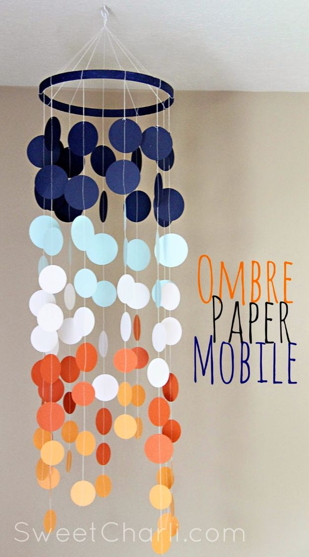 Paper Crafts DIY - Ombre Paper Mobile - Papercraft Tutorials and Easy Projects for Make for Decoration and Gift IDeas - Origami, Paper Flowers, Heart Decoration, Scrapbook Notions, Wall Art, Christmas Cards, Step by Step Tutorials for Crafts Made From Papers http://diyjoy.com/paper-crafts-diy