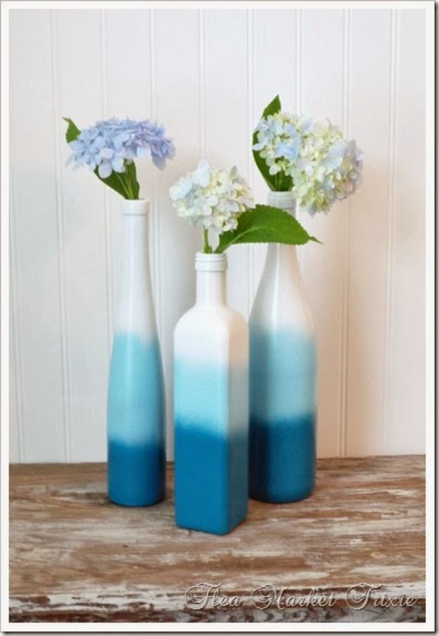 DIY Home Decor On A Budget - Ombre Spray Painted Bottles - Cheap Home Decorations to Make From The Dollar Store and Dollar Tree - Inexpensive Budget Friendly Wall Art, Furniture, Table Accents, Rugs, Pillows, Bedding and Chairs - Candles, Crafts To Make for Your Bedroom, Pretty Signs and Art, Linens, Storage and Organizing Ideas for Apartments #diydecor #decoratingideas #cheaphomedecor