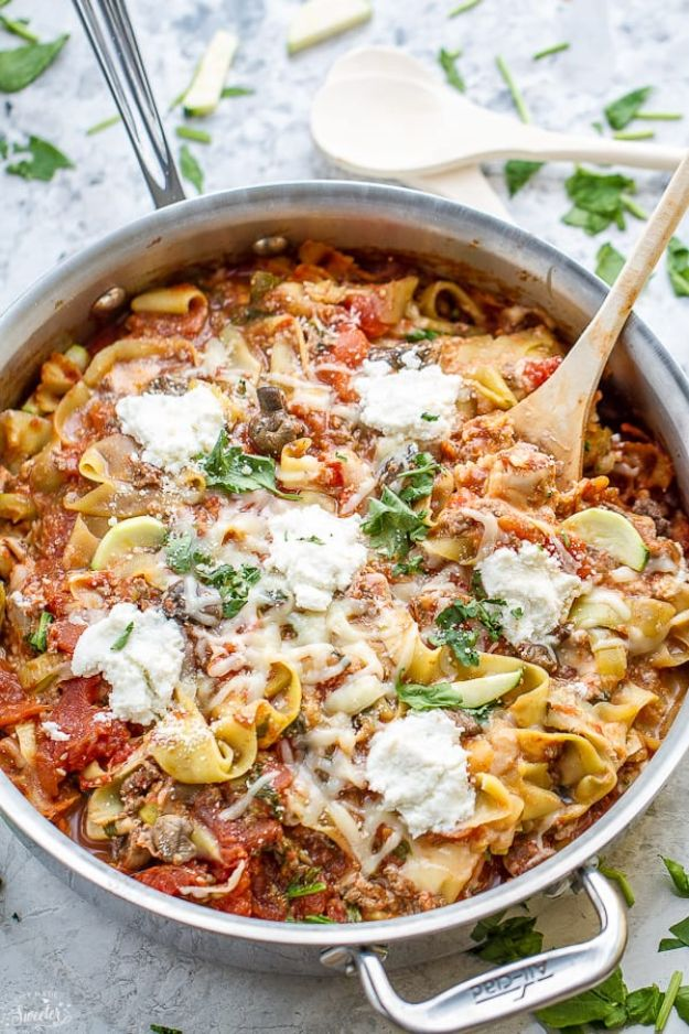 Veggie Noodle Recipes - One Pan Skillet Lasagna Zoodles - How to Cook With Veggie Noodles - Healthy Pasta Recipe Ideas - How to Make Veggie Noodles With Carrots and Zucchini - Vegan, Vegetarian , Keto and Low Carb Dishes for Your Diet - Meatballs, Chicken, Cheese, Asian Stir Fry, Salad and Raw Preparations #veggienoodles #recipes #keto #lowcarb #ketorecipes http://diyjoy.com/veggie-noodle-recipes