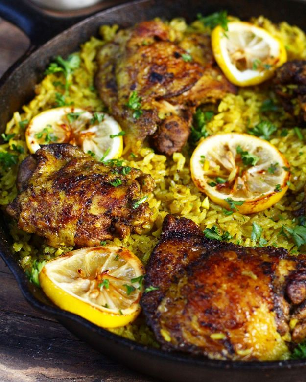 Easy Healthy Chicken Recipes - One Pot Middle Eastern Chicken and Rice - Lunch and Dinner Ideas, Party Foods and Casseroles, Idea for the Grill and Salads- Chicken Breast, Baked, Roastedf and Grilled Chicken #recipes #healthy #chicken