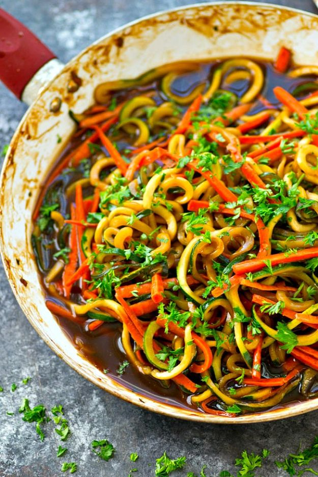 Veggie Noodle Recipes - One-Pot Teriyaki Veggie Noodles Skillet - How to Cook With Veggie Noodles - Healthy Pasta Recipe Ideas - How to Make Veggie Noodles With Carrots and Zucchini - Vegan, Vegetarian , Keto and Low Carb Dishes for Your Diet - Meatballs, Chicken, Cheese, Asian Stir Fry, Salad and Raw Preparations #veggienoodles #recipes #keto #lowcarb #ketorecipes #veggies #healthyrecipes #veganrecipes