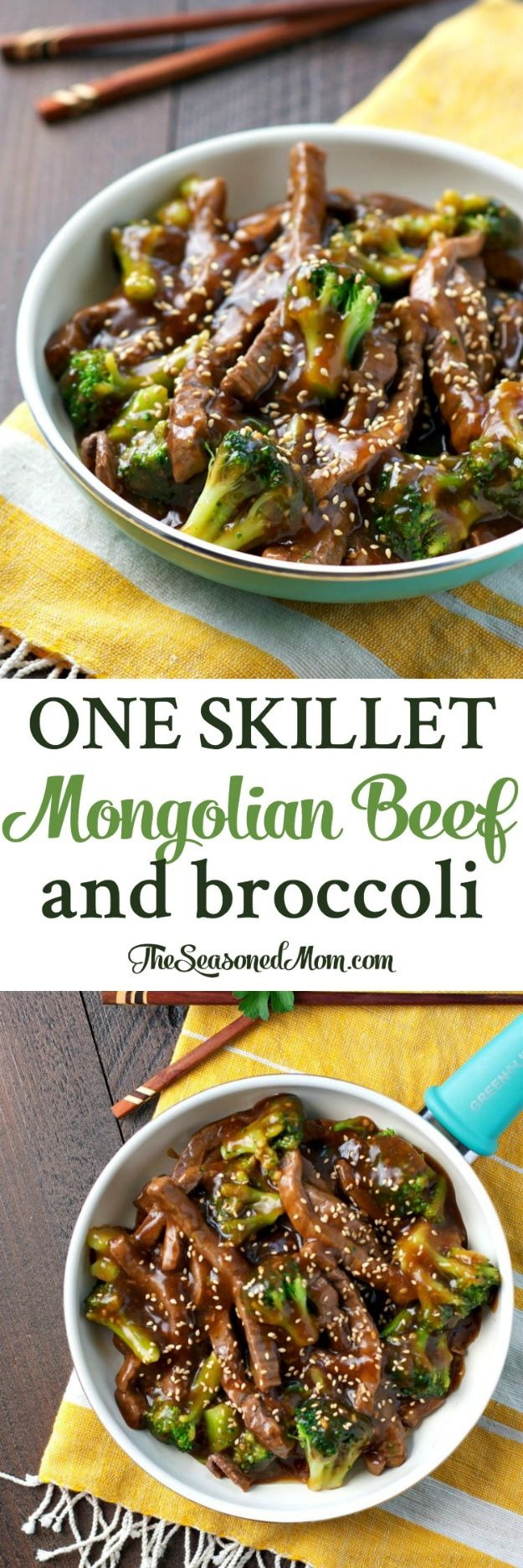 Easy Dinner Recipes - One Skillet Mongolian Beef Broccoli - Quick and Simple Dinner Recipe Ideas for Weeknight and Last Minute Supper - Chicken, Ground Beef, Fish, Pasta, Healthy Salads, Low Fat and Vegetarian Dishes #easyrecipes #dinnerideas #recipes