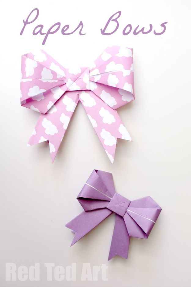 Paper Crafts DIY - Origami Paper Bows - Papercraft Tutorials and Easy Projects for Make for Decoration and Gift IDeas - Origami, Paper Flowers, Heart Decoration, Scrapbook Notions, Wall Art, Christmas Cards, Step by Step Tutorials for Crafts Made From Papers http://diyjoy.com/paper-crafts-diy