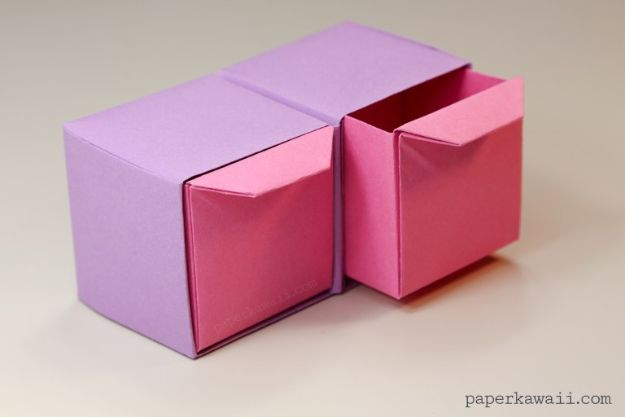 Paper Crafts DIY - Origami Pull Out Drawers - Papercraft Tutorials and Easy Projects for Make for Decoration and Gift IDeas - Origami, Paper Flowers, Heart Decoration, Scrapbook Notions, Wall Art, Christmas Cards, Step by Step Tutorials for Crafts Made From Papers #crafts