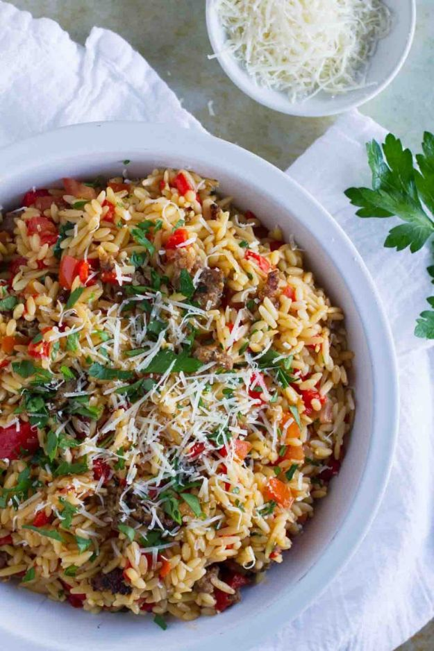 Best Italian Recipes - Orzo With Italian Sausage and Peppers - Authentic and Traditional italian dishes For Dinner, Appetizers, and Easy Lunch - Pasta with Chicken, Lasagna, Noodles With Cheese, Healthy Recipe Ideas - Party Trays and Food For A Crowd - Fettucini, Spaghetti, Alfredo Sauce, Meatballs, Grilled Steak and Fish, Soup, Seafood, Vegetarian and Crockpot Versions #italian