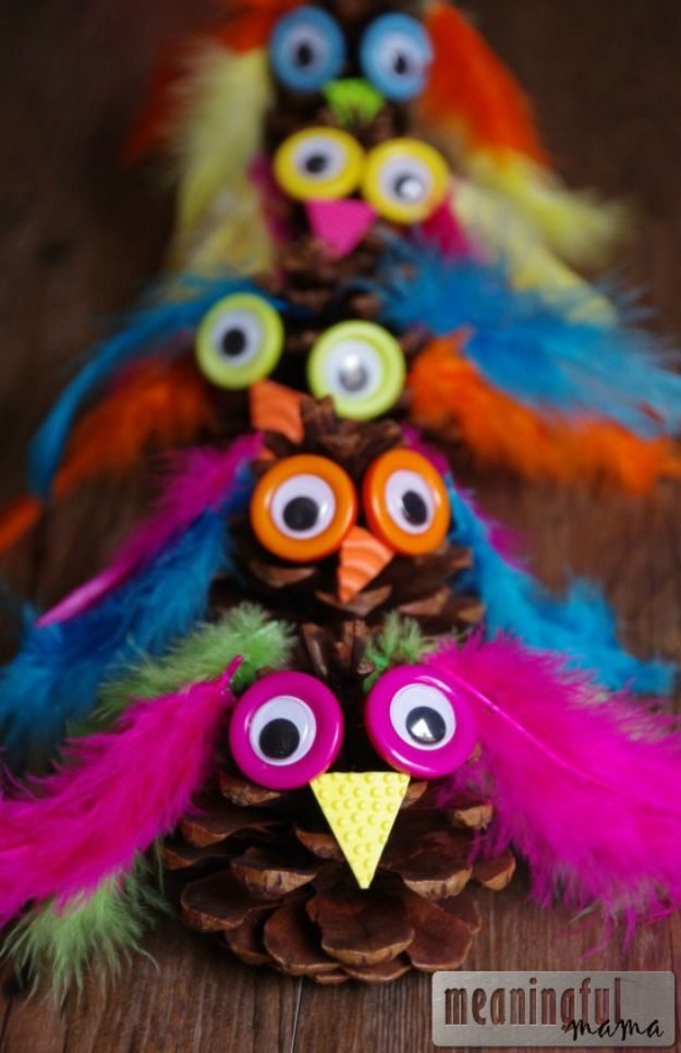 Fun Fall Crafts for Kids - Owl Pinecone Craft - Cool Crafts Ideas for Kids to Make With Paper, Glue, Leaves, Corn Husk, Pumpkin and Glitter - Halloween and Thanksgiving - Children Love Making Art, Paintings, Cards and Fall Decor - Placemats, Place Cards, Wall Art , Party Food and Decorations for Toddlers, Boys and Girls #fallcrafts #kidscrafts #kids
