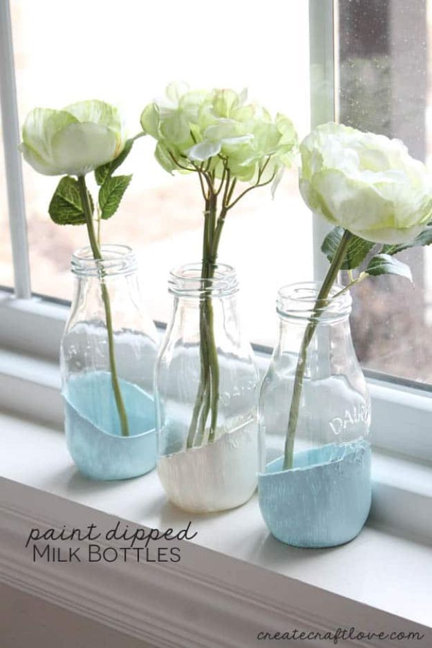 Cheap DIY Gift Ideas - Paint Dipped Milk Bottles - List of Handmade Gifts on A Budget and Inexpensive Christmas Presents - Do It Yourself Gift Idea for Family and Friends, Mom and Dad, For Guys and Women, Boyfriend, Girlfriend, BFF, Kids and Teens - Dollar Store and Dollar Tree Crafts, Home Decor, Room Accessories and Fun Things to Make At Home http://diyjoy.com/cheap-diy-gift-ideas