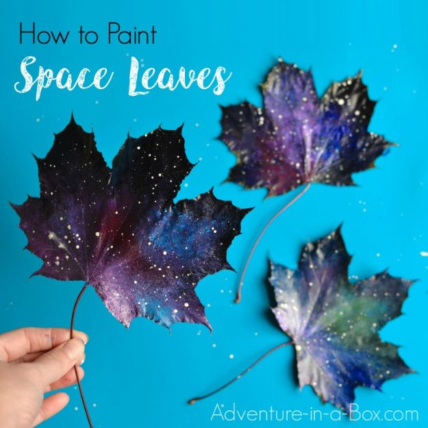 Fun Fall Crafts for Kids - Paint Space Leaves - Cool Crafts Ideas for Kids to Make With Paper, Glue, Leaves, Corn Husk, Pumpkin and Glitter - Halloween and Thanksgiving - Children Love Making Art, Paintings, Cards and Fall Decor - Placemats, Place Cards, Wall Art , Party Food and Decorations for Toddlers, Boys and Girls http://diyjoy.com/fun-fall-crafts-kids