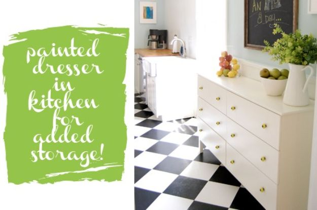 IKEA Hacks for Your Kitchen - Painted Dresser In Kitchen For Added Storage - DIY Furniture and Kitchen Accessories Made from IKEA - Kitchen Islands, Cabinets, Table, Pantry Organization, Storage, Shelves and Counter Solutions - Bar, Buffet and Entertaining Ideas - Easy Projects With Step by Step Tutorials and Instructions to Hack IKEA items #ikea #ikeahacks #diyhomedecor #diyideas #diykitchen