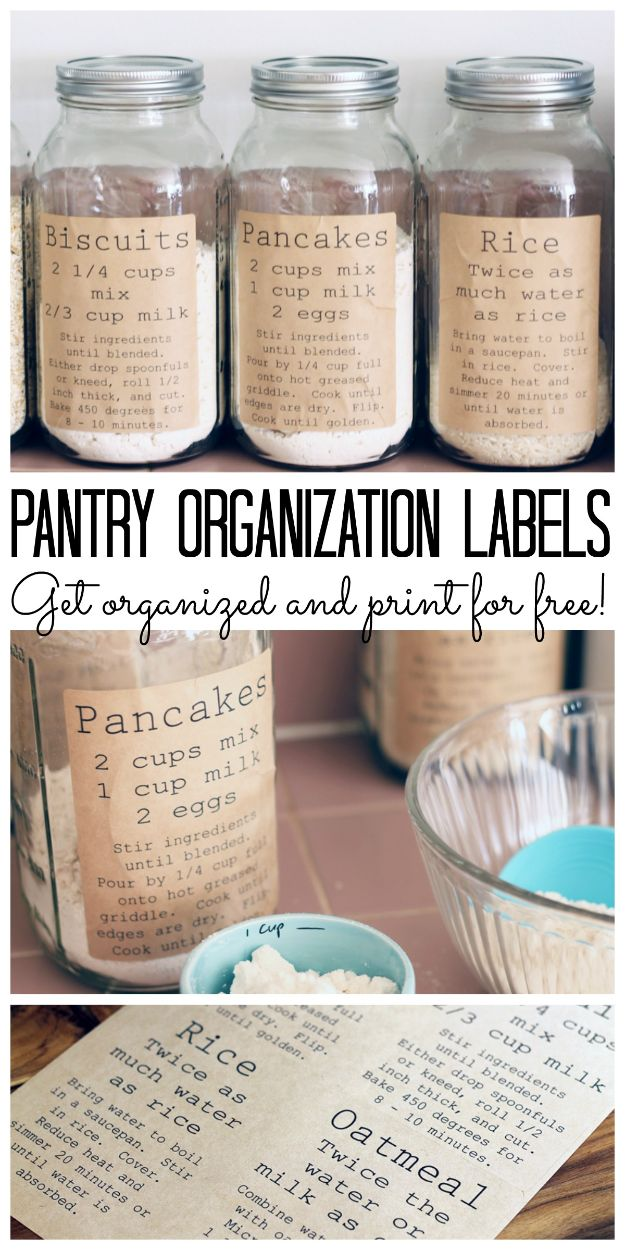 Organizing Ideas for Your Life - Pantry Organization Labels - Easy Crafts and Cool Ideas for Getting Organized - Best Ways to Get Organized - Things to Make for Being More Efficient and Productive - DIY Storage, Shelving, Calendars, Planning #organizing
