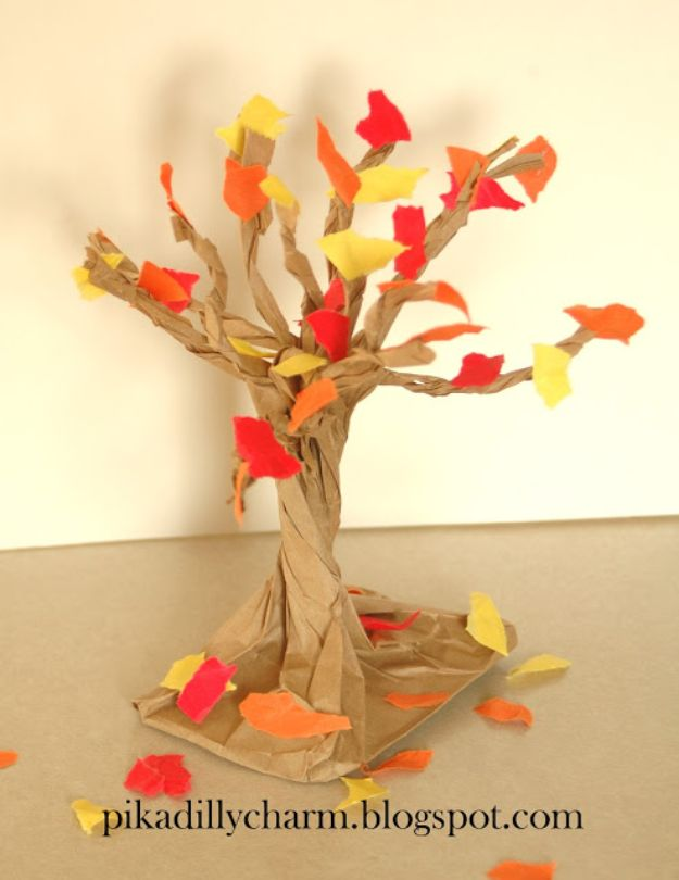 Fun Fall Crafts for Kids - Paper Bag Fall Tree - Cool Crafts Ideas for Kids to Make With Paper, Glue, Leaves, Corn Husk, Pumpkin and Glitter - Halloween and Thanksgiving - Children Love Making Art, Paintings, Cards and Fall Decor - Placemats, Place Cards, Wall Art , Party Food and Decorations for Toddlers, Boys and Girls http://diyjoy.com/fun-fall-crafts-kids