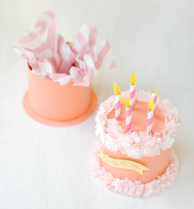 Paper Crafts DIY - Paper Birthday Cake Box - Papercraft Tutorials and Easy Projects for Make for Decoration and Gift IDeas - Origami, Paper Flowers, Heart Decoration, Scrapbook Notions, Wall Art, Christmas Cards, Step by Step Tutorials for Crafts Made From Papers #crafts