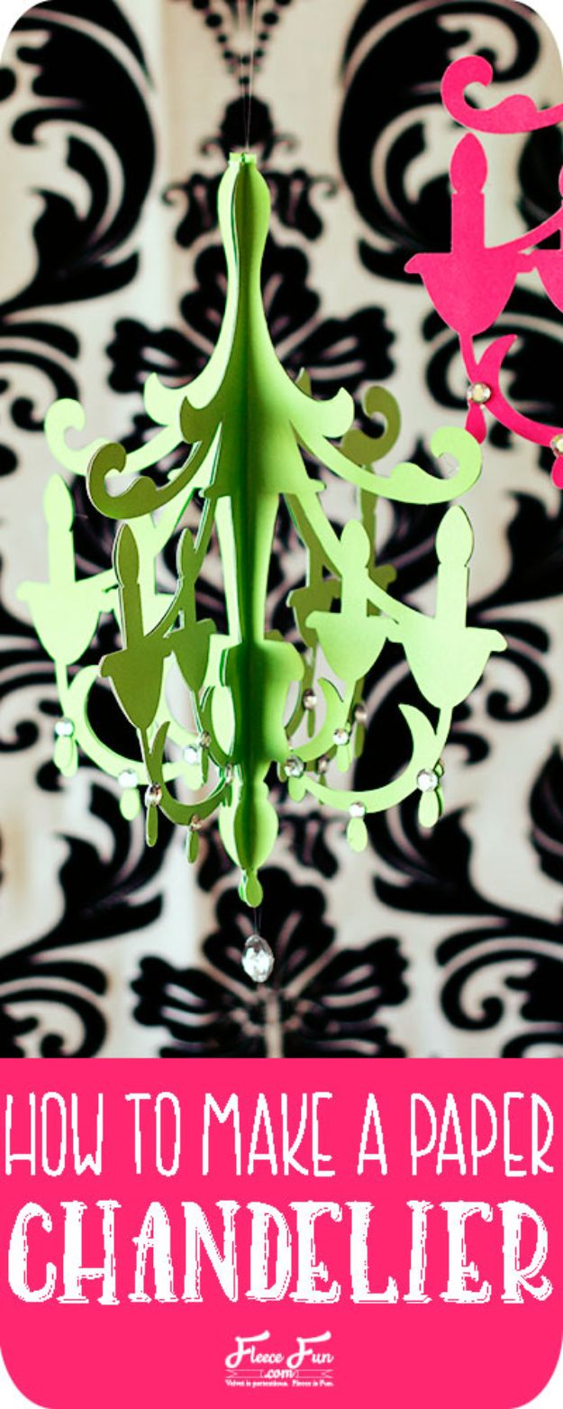 Paper Crafts DIY - Paper Chandelier - Papercraft Tutorials and Easy Projects for Make for Decoration and Gift IDeas - Origami, Paper Flowers, Heart Decoration, Scrapbook Notions, Wall Art, Christmas Cards, Step by Step Tutorials for Crafts Made From Papers http://diyjoy.com/paper-crafts-diy