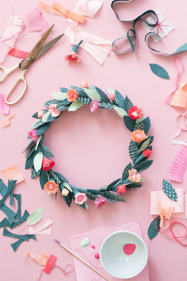 Paper Crafts DIY - Paper Floral Crown - Papercraft Tutorials and Easy Projects for Make for Decoration and Gift IDeas - Origami, Paper Flowers, Heart Decoration, Scrapbook Notions, Wall Art, Christmas Cards, Step by Step Tutorials for Crafts Made From Papers #crafts