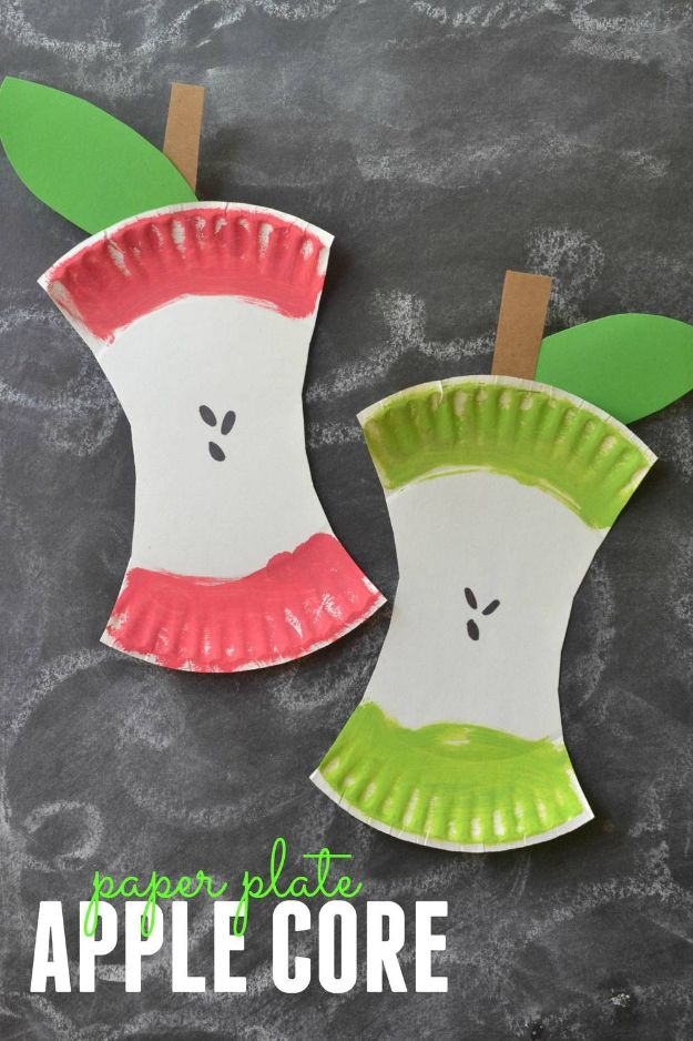 Fun Fall Crafts for Kids - Paper Plate Apple Core - Cool Crafts Ideas for Kids to Make With Paper, Glue, Leaves, Corn Husk, Pumpkin and Glitter - Halloween and Thanksgiving - Children Love Making Art, Paintings, Cards and Fall Decor - Placemats, Place Cards, Wall Art , Party Food and Decorations for Toddlers, Boys and Girls #fallcrafts #kidscrafts #kids