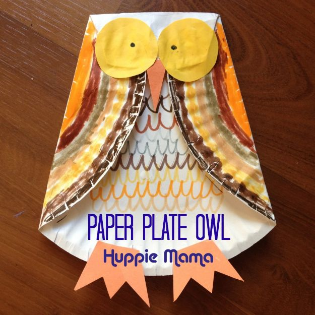 Fun Fall Crafts for Kids - Paper Plate Owl - Cool Crafts Ideas for Kids to Make With Paper, Glue, Leaves, Corn Husk, Pumpkin and Glitter - Halloween and Thanksgiving - Children Love Making Art, Paintings, Cards and Fall Decor - Placemats, Place Cards, Wall Art , Party Food and Decorations for Toddlers, Boys and Girls http://diyjoy.com/fun-fall-crafts-kids