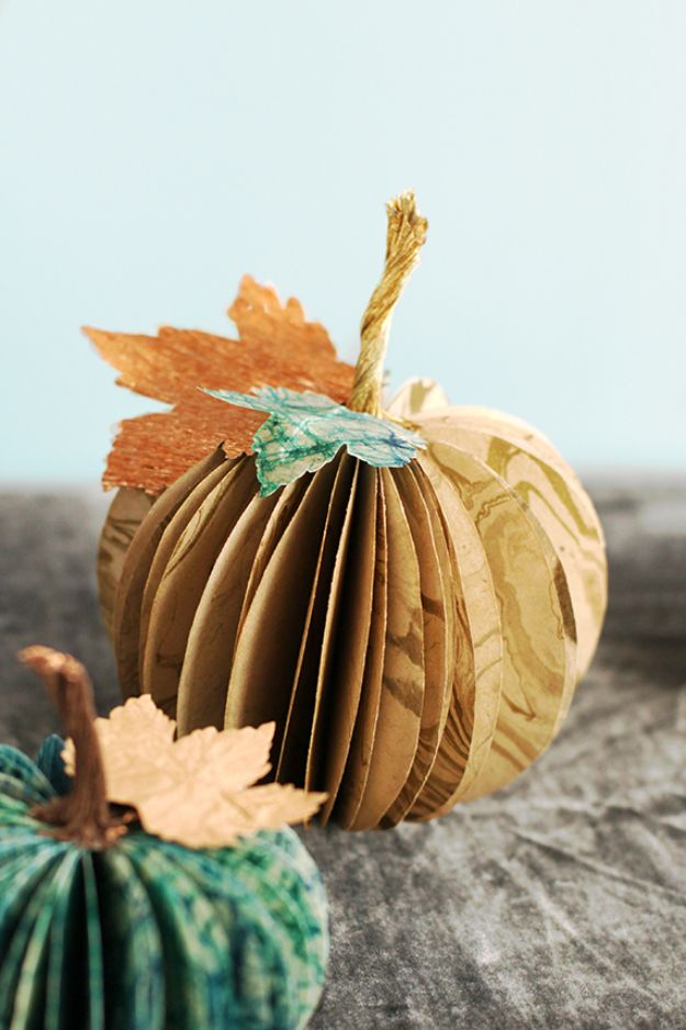 Paper Crafts DIY - Paper Pumpkin Centerpiece - Papercraft Tutorials and Easy Projects for Make for Decoration and Gift IDeas - Origami, Paper Flowers, Heart Decoration, Scrapbook Notions, Wall Art, Christmas Cards, Step by Step Tutorials for Crafts Made From Papers http://diyjoy.com/paper-crafts-diy