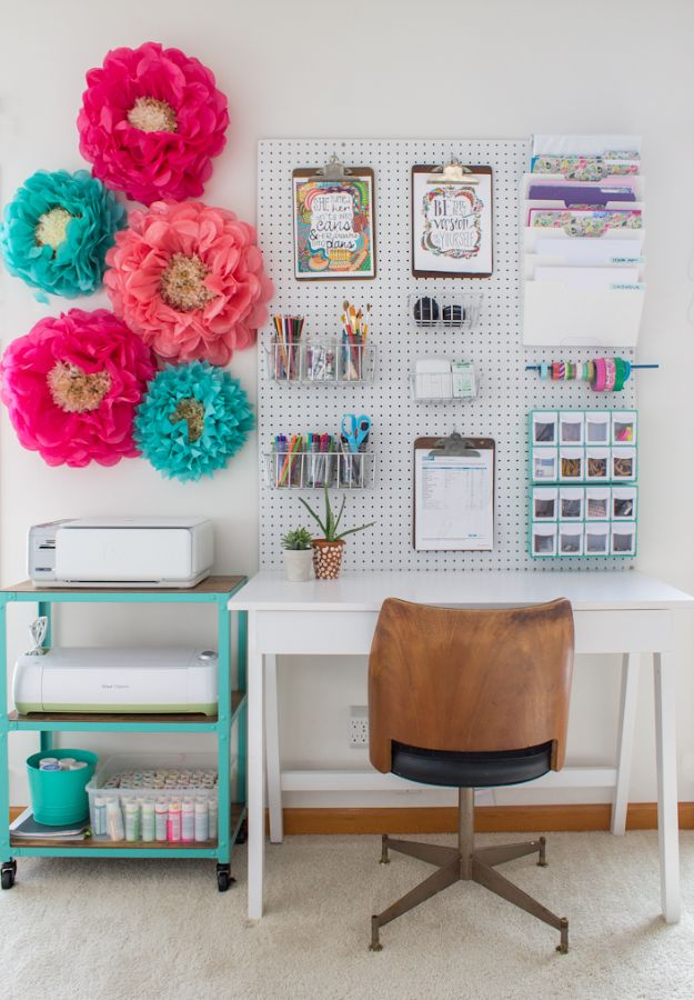 DIY Office Furniture - Pegboard and Rolling Cart For Home Office - Do It Yourself Home Office Furniture Ideas - Desk Projects, Thrift Store Makeovers, Chairs, Office File Cabinets and Organization - Shelving, Bulletin Boards, Wall Art for Offices and Creative Work Spaces in Your House - Tables, Armchairs, Desk Accessories and Easy Desks To Make On A Budget #diyoffice #diyfurniture #diy #diyhomedecor #diyideas