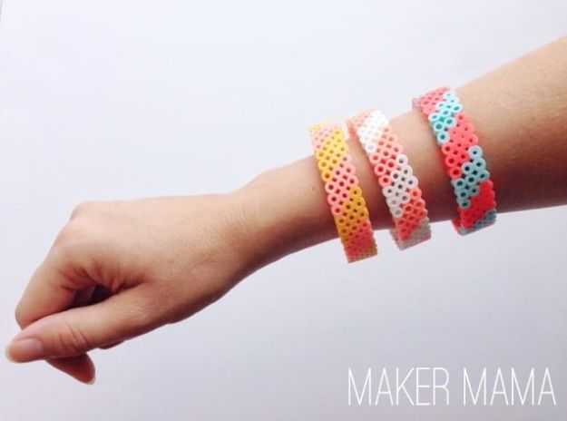 DIY perler bead crafts - Perler Bead Bracelet - Easy Crafts With Perler Beads - Cute Accessories and Homemade Decor That Make Creative DIY Gifts - Plastic Melted Beads Make Cool Art for Walls, Jewelry and Things To Make When You are Bored #diy #crafts