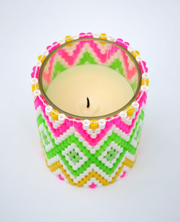 DIY perler bead crafts - Perler Bead Candle Holder - Cute Accessories and Homemade Decor That Make Creative DIY Gifts - Plastic Melted Beads Make Cool Art for Walls, Jewelry and Things To Make When You are Bored #diy #crafts