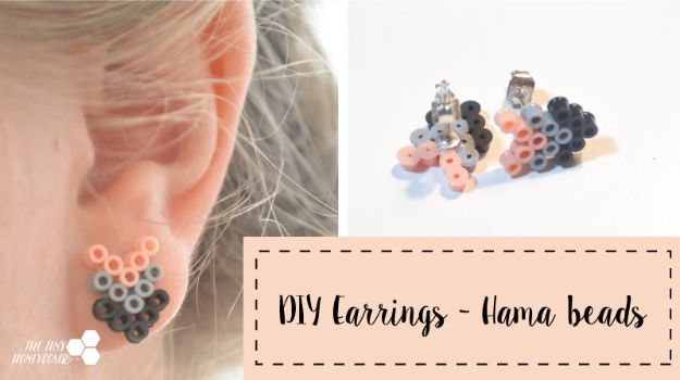 DIY perler bead crafts - Perler Bead Earrings - Easy Crafts With Perler Beads - Cute Accessories and Homemade Decor That Make Creative DIY Gifts - Plastic Melted Beads Make Cool Art for Walls, Jewelry and Things To Make When You are Bored #diy #crafts