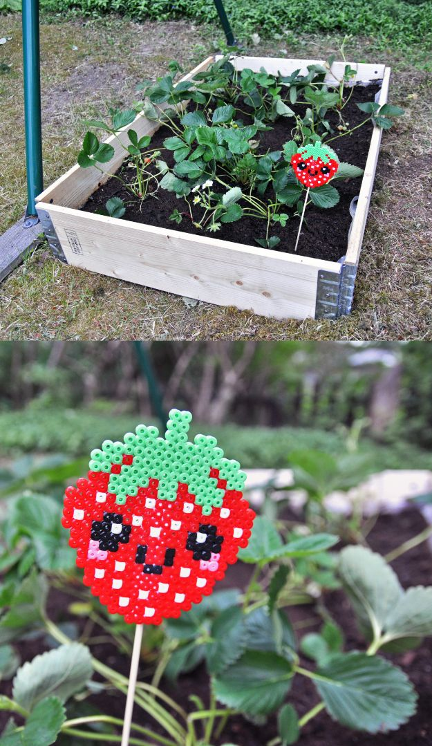 DIY perler bead crafts - Perler Bead Garden Marker - Easy Crafts With Perler Beads - Cute Accessories and Homemade Decor That Make Creative DIY Gifts - Plastic Melted Beads Make Cool Art for Walls, Jewelry and Things To Make When You are Bored #diy #crafts