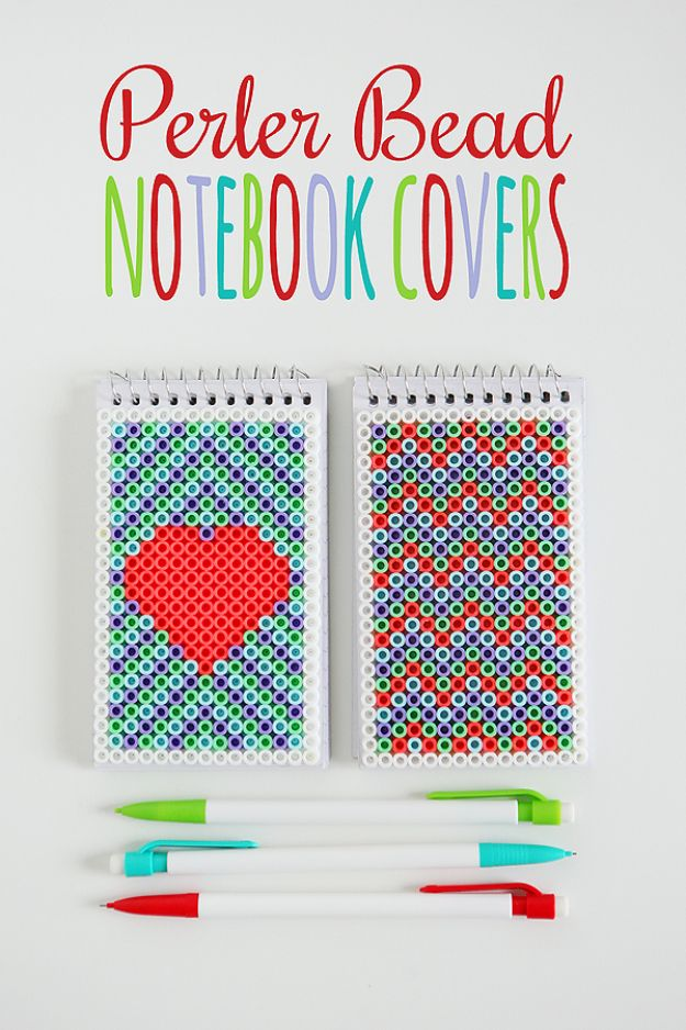 DIY Perler Bead Crafts - Perler Bead Notebook Covers - Cute Accessories and Homemade Decor That Make Creative DIY Gifts - Plastic Melted Beads Make Cool Art for Walls, Jewelry and Things To Make When You are Bored - Impressive Hand Made Presents for DIY Chrismas Gifts for Mom, Dad, Brother or Sister #diyideas #diy #crafts #perlerbeads #perlerbead #artsandcrafts #easydiy http://diyjoy.com/diy-ideas-perler-beads