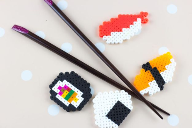 DIY Perler Bead Crafts - Perler Bead Sushi Magnets - Cute Accessories and Homemade Decor That Make Creative DIY Gifts - Plastic Melted Beads Make Cool Art for Walls, Jewelry and Things To Make When You are Bored - Impressive Hand Made Presents for DIY Chrismas Gifts for Mom, Dad, Brother or Sister #diyideas #diy #crafts #perlerbeads #perlerbead #artsandcrafts #easydiy http://diyjoy.com/diy-ideas-perler-beads