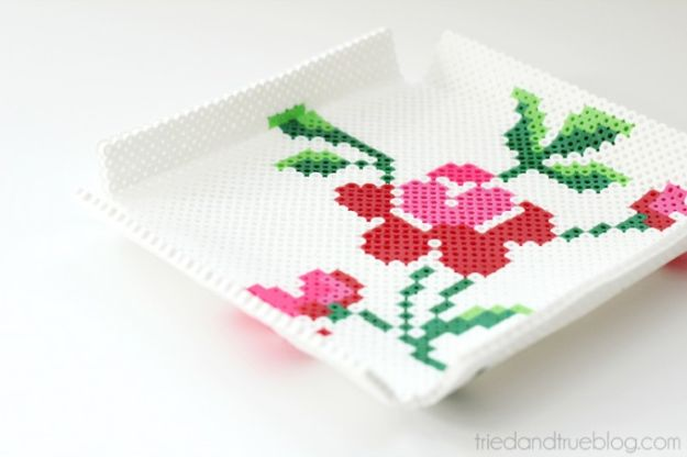 DIY perler bead crafts - Perler Bead Tray - Cute Accessories and Homemade Decor That Make Creative DIY Gifts - Plastic Melted Beads Make Cool Art for Walls, Jewelry and Things To Make When You are Bored #diy #crafts